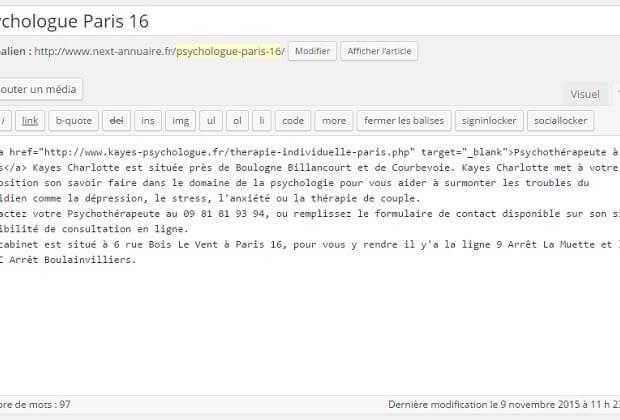 Découvrez quelles sont les nombreuse infractions de la fiche Psychologue Paris 16 qui a donc été refusée