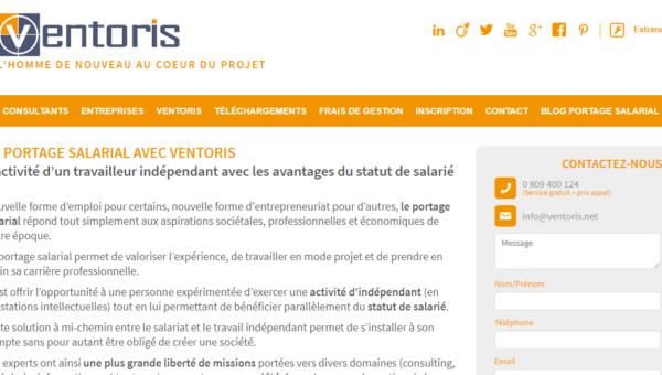 ventoris.fr : site de l'entreprise de portage salarial Ventoris